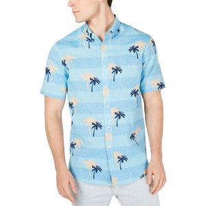 Club Room Palm Trees Linen Blend Hawaiian Shirt